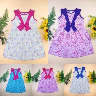 Váy cotton thun cho bé 10-17kg [CHÍNH HÃNG SILBER] 100% cotton, vải hoa phối bèo nơ ngực
