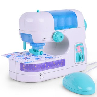 Portable Simulation Sewing Machine Toy Kids Children Electric DIY Clothes Maker