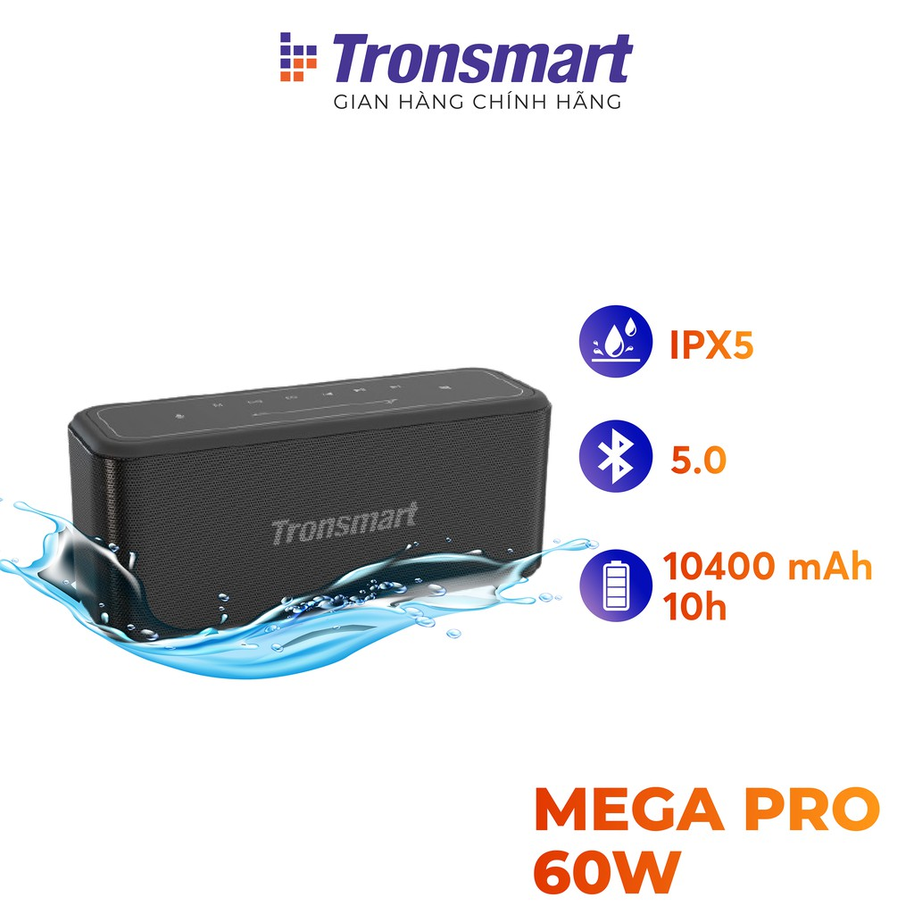 Loa Bluetooth 5.0 Tronsmart Element Mega Pro Công suất 60W Hỗ trợ TWS và NFC ghép đôi 2 loa - Hàng Chính Hãng