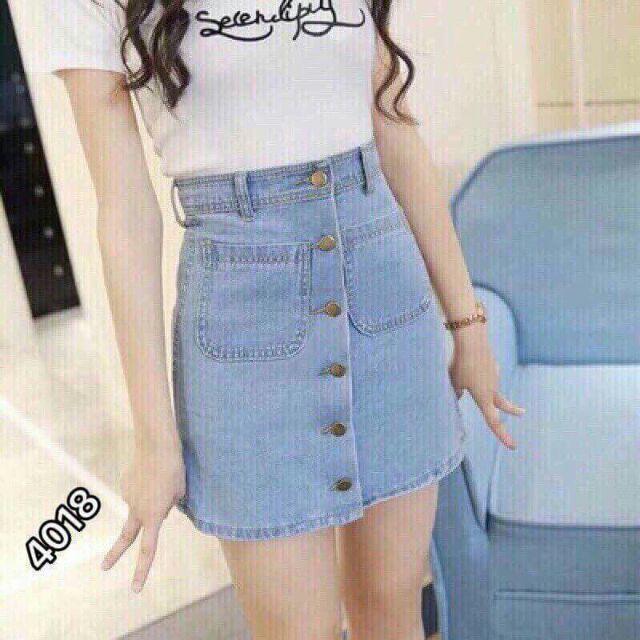 Váy jean núc cài - mã 005