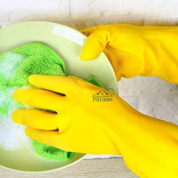 Găng tay rửa chén cao su tự nhiên Lock&Lock size M màu vàng ETM803Y