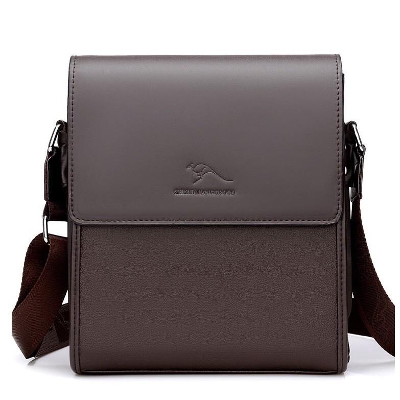 Túi đeo chéo nam da bò cao cấp ZHIZUNCANGUROOS kiểu túi đứng - túi ngang (Nâu-Đen)_EVA.STORES