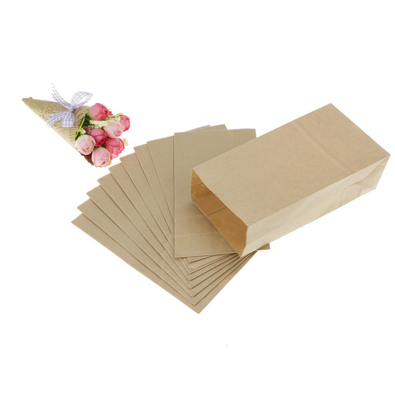 MT 10pcs Vintage Brown Kraft Paper Bags Gift Food Bread Candy Party Bags NY