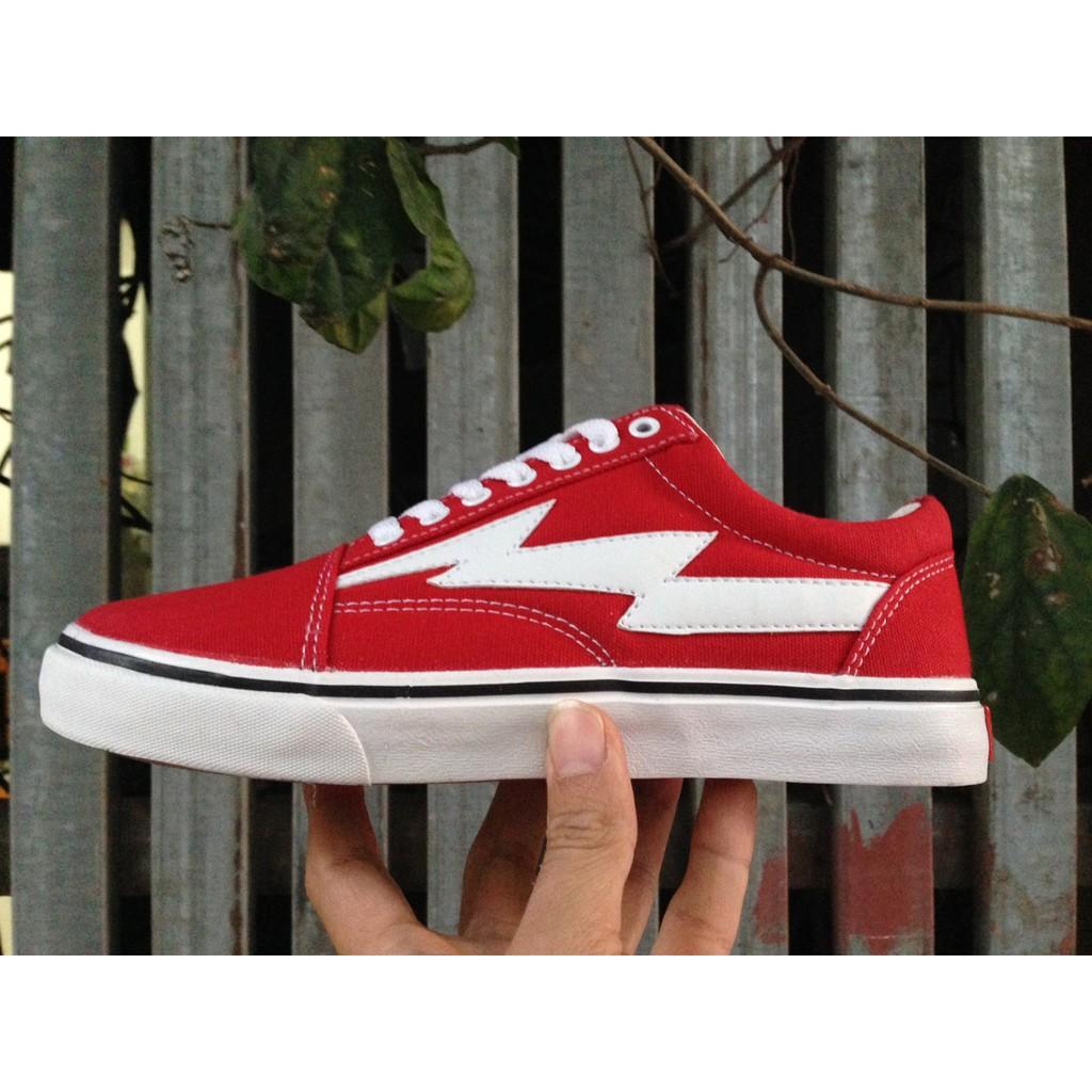 [KÈM HỘP] Giày Vans Old Skool Tia Chớp màu đỏ trắng