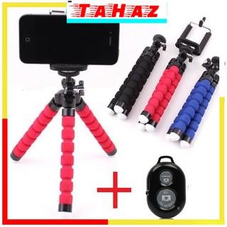 Combo Giá đỡ chụp ảnh điện thoại bạch tuộc + Remote chụp hình tự sướng Bluetooth_Tahaz shop