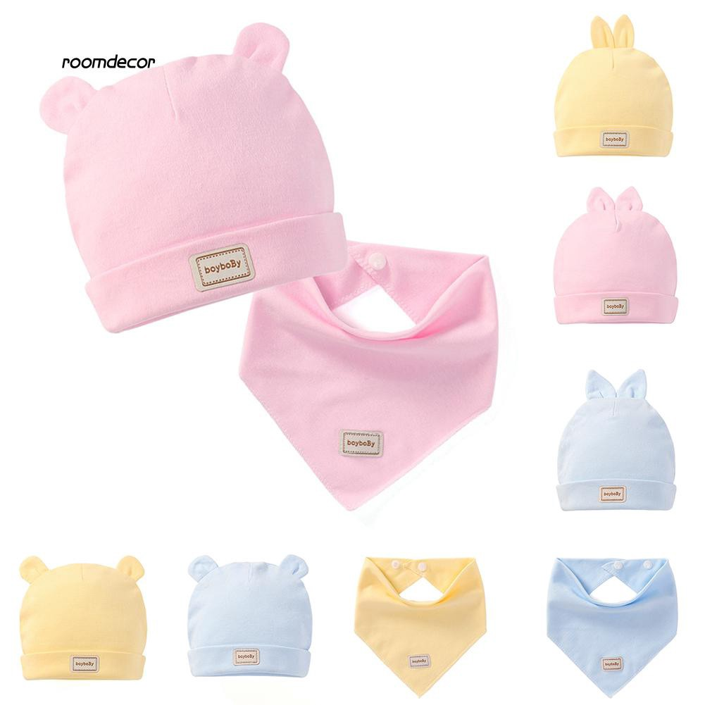 RMDC_Baby Boy Girl Solid Color Cotton Cap Summer Hat with Ears Triangle Towel Scarf