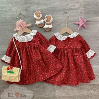 Váy Hoa Đỏ Cổ Bèo Trắng - VBG-hoa-đỏ-cổ-bèo