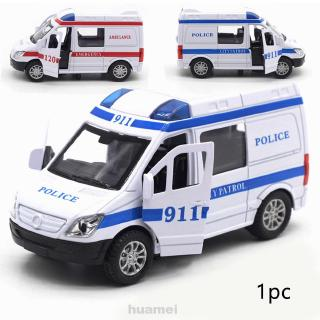1:36 High Simulation Diecast Children Alloy Pull Back Ambulance Police Toy Vehicle Sound Light Car Model