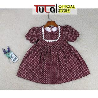 Váy Đầm Bé Gái Phối Ren Trắng Vải Thô Cào Bông Hàn Quốc Họa Tiết Nhỏ Nền Đỏ Đô Đậm Cho Bé