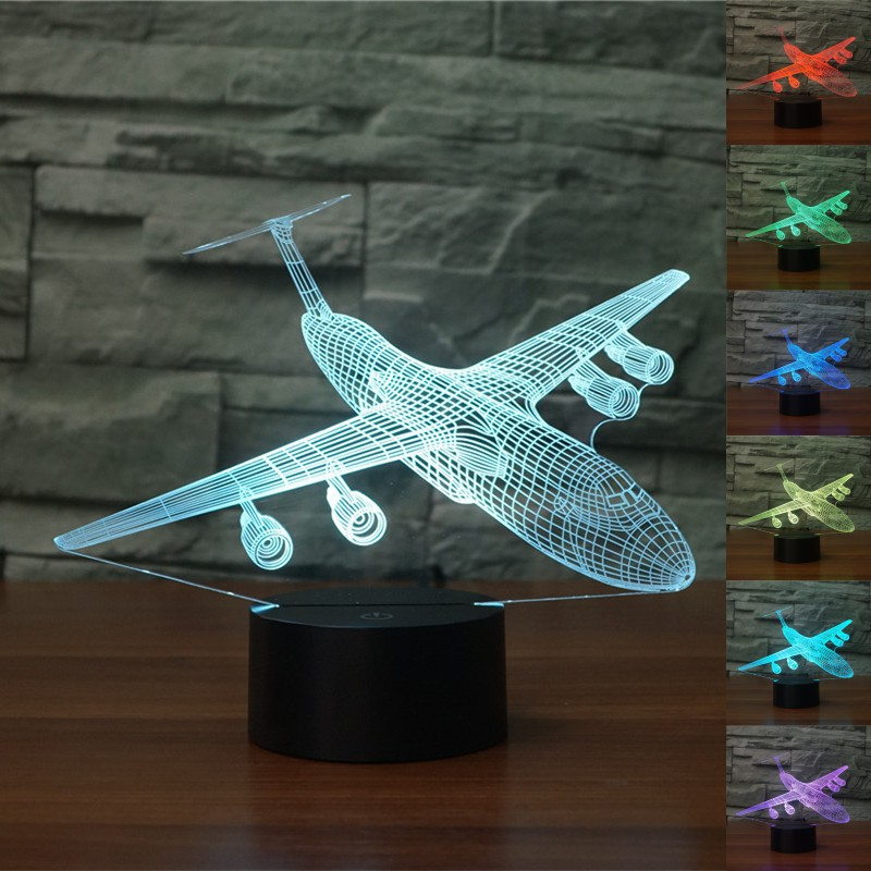 Đèn Led chiếu 3D hình máy bay và phụ kiện đi kèm