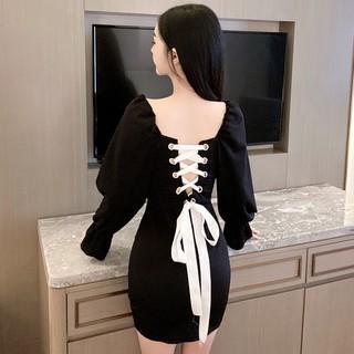 Đầm Ôm Cổ Vuông Thiết Kế Dây Đan Chéo Quyến Rũ Cho Nữ