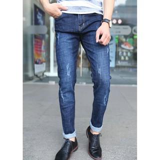 Quần Jeans Nam Dáng Ôm Màu Xanh Đậm Cào Nhẹ