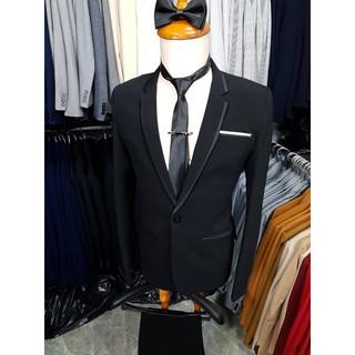 Yêu ThíchBộ vest nam body kiểu đen viền đen chất vải dày mịn + cà vạt nơ