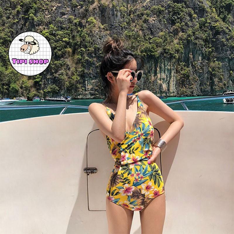 [Mã WASEPRN hoàn 20% xu đơn 99k] Bộ bikini đi biển cao cấp 1 mảnh vàng phối hoa