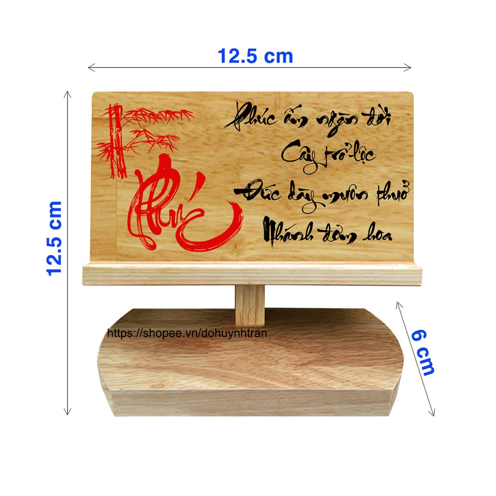 Giá đỡ điện thoại bằng gỗ (chữ Phúc)