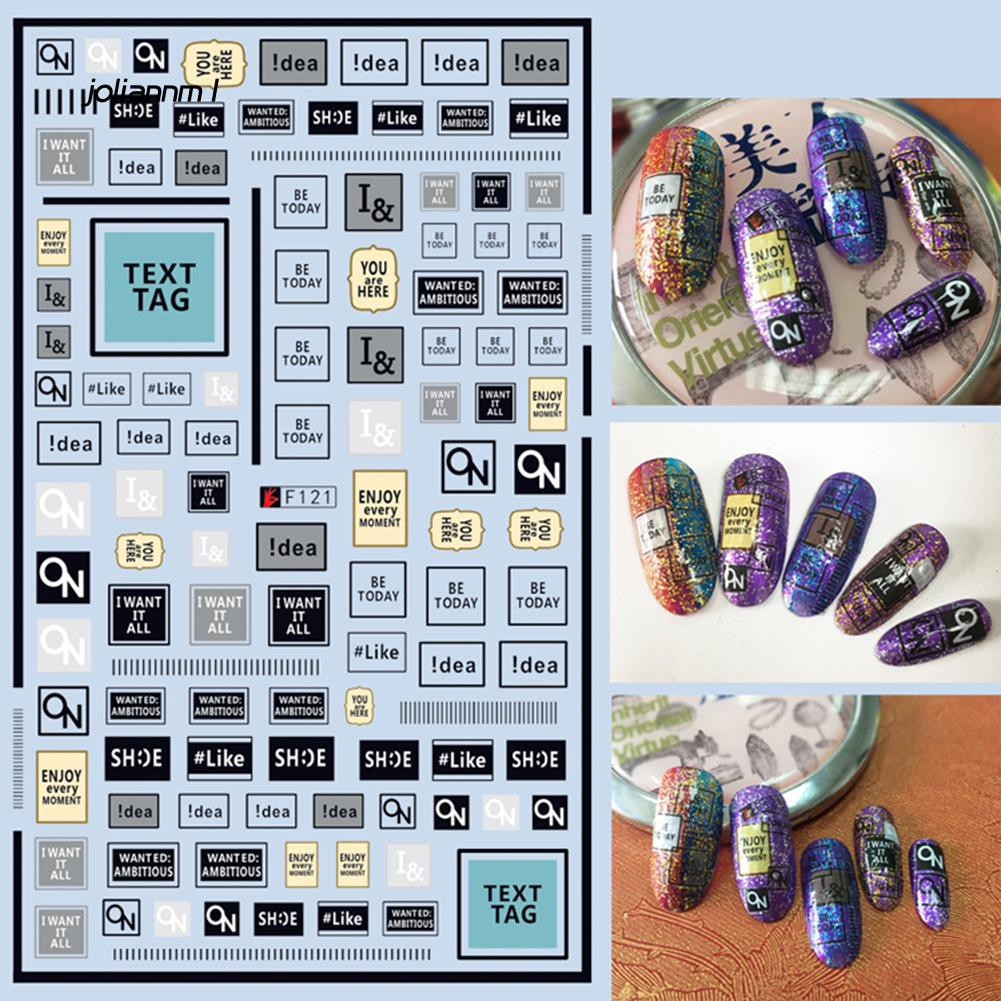 JLNM_1 Sheet Letter Panda Decal Nail Art Stickers DIY Tips Decoration Manicure Tools