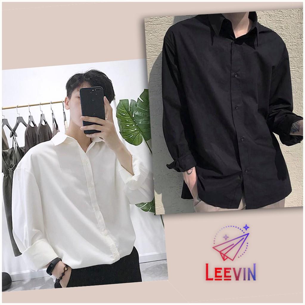 Áo sơ mi nam nữ dài tay Unisex Basic TRƠN Form rộng màu trắng và đen Chất cotton lụa mịn mát Bigsize Leevin