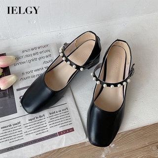 IELGY solid color fairy style wild Lady wind gentle pearl retro single shoes thick with with high 3.5cm