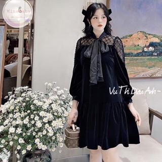 Váy bầu thiết kế thu đông nơ cổ tay phối ren mềm mại MB 172 chất liệu Nhung tuyết freesize 45-75kg thumbnail