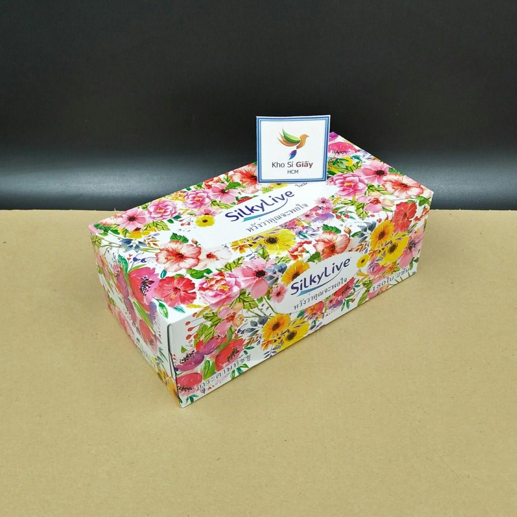 [Siêu rẻ] Khăn giấy hộp Silkylive 180 TỜ - Khăn giấy lụa Thái