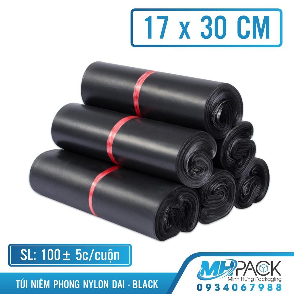 Bao bì gói hàng niêm phong 17x30cm màu đen bịch nilong bao bì túi đựng vận chuyển hàng online