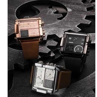 Đồng hồ nam chính hãng cao cấp SKMEI dây da xịn, mặt chữ nhật sang trọng, số giờ điện tử và truyền thống đôc đáo