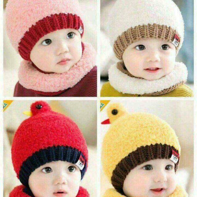 Sét mũ len kèm khăn ấm cổ cho bé