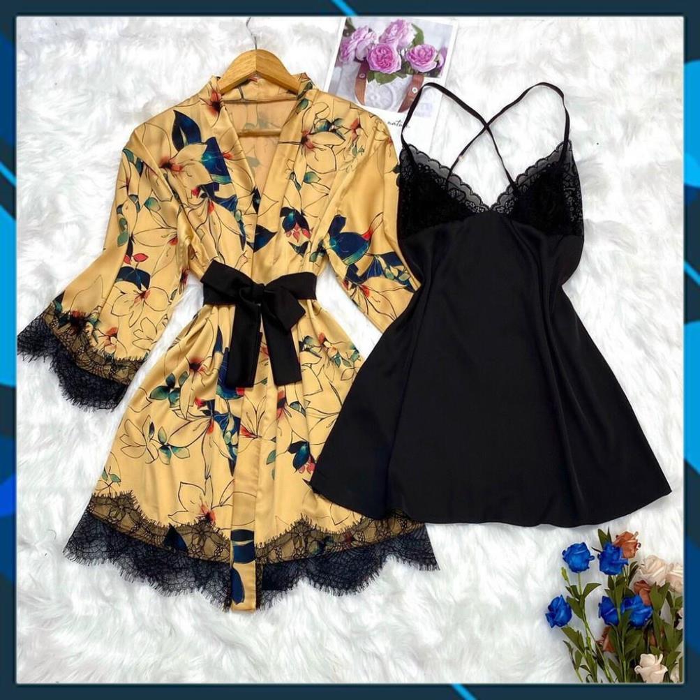 Set váy ngủ lụa cao cấp⚡FREESHIP⚡ , váy 2 dây kèm áo khoác ngoài sang trọng, chất vải đẹp, mềm mát, ít nhăn .