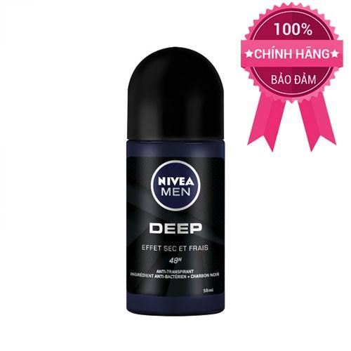 Lăn khử mùi Nivea Men Deep Dry&Clean Feel 48h than hoạt tính 50ml