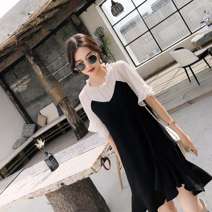 Đầm Nữ Suông Đuôi Cá Phối Tay Ngắn Voan Thời Trang Đủ Size Từ 40 Đến 68Kg - DAMNU19.0006BLA | SaleOff247
