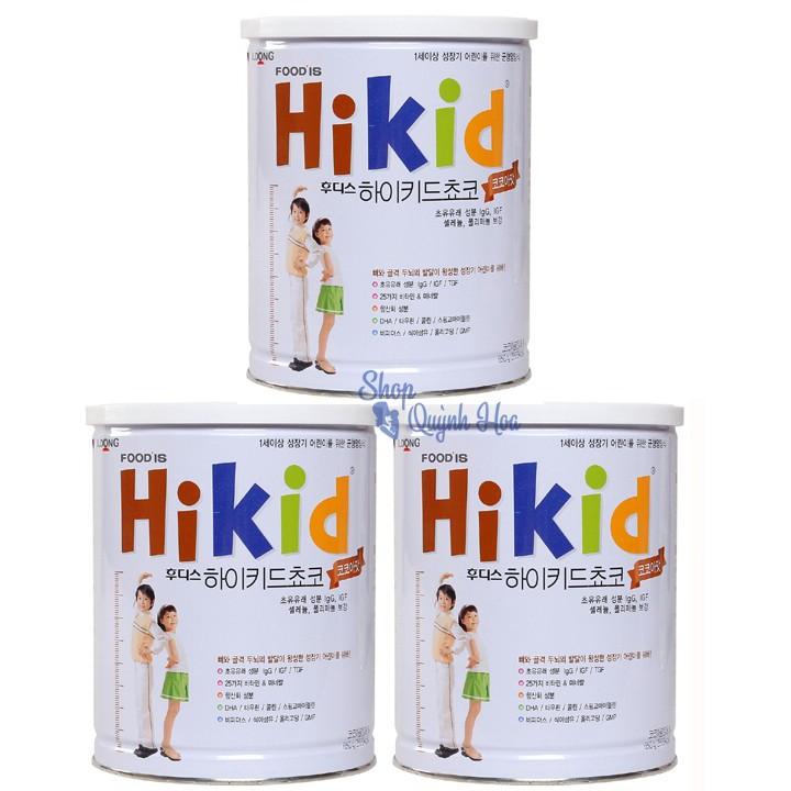 Combo 3 hộp Sữa Hikid tăng chiều cao cho bé trên 1 tuổi vị sôcôla, 600g (hàng nhập khẩu)