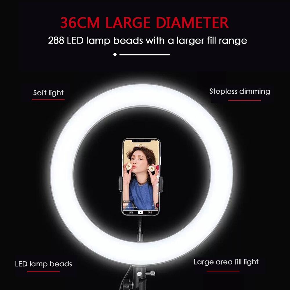 Đèn Led Vòng Hỗ Trợ Chụp Ảnh 36cm 288 Led 18w 5600k