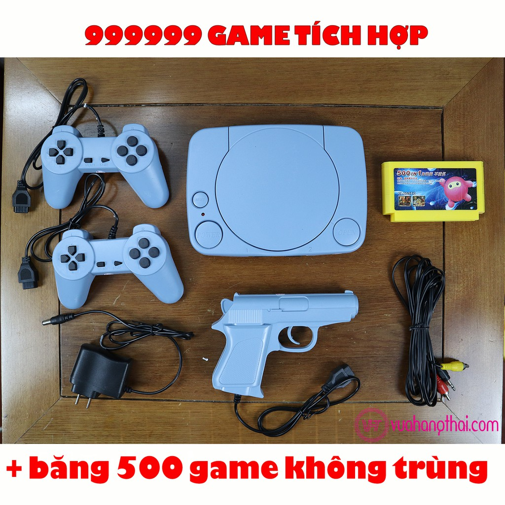 Máy chơi game 4 nút cổ điển, có súng bắn vịt – Tích hợp sẵn 999999 trò, kèm băng 500 game không trùng.