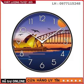 Đồng Hồ Treo Tường Kim Trôi Cao Cấp Nền Kim Cương