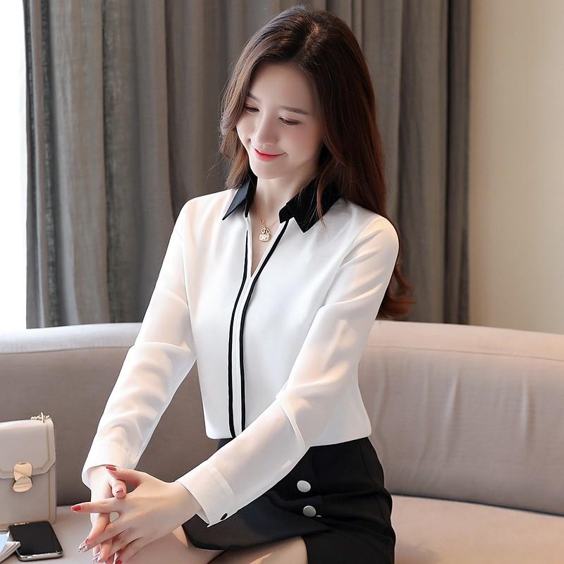 (พร้อมแจ้ง) สตรีแขนยาวสีขาว/น้ําเงิน/ชมพู/เขียวเสื้อยืดสูงสุด blusas ผู้หญิง