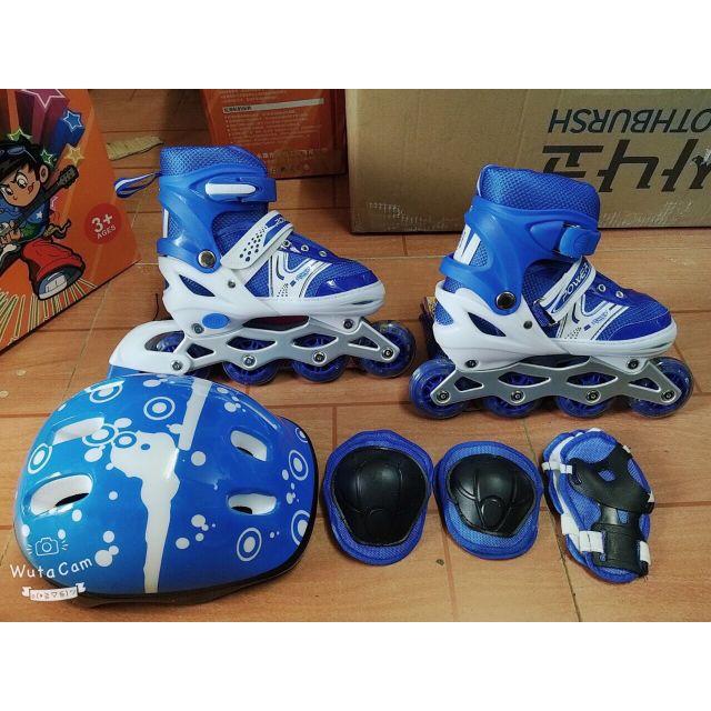 ( Mã HOANTAT giảm 12% )Giày trượt Patin  bánh đèn led cho trẻ em ( kèm bảo hộ, mũ bảo hiểm)