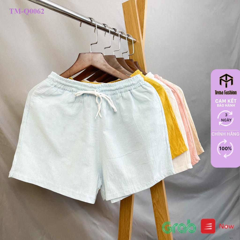 Mặc gì đẹp: Gọn tiện với Quần đùi nữ TEMA đũi cao cấp - quần short nữ mặc ở nhà chất mát mịn kiểu dáng basic mix đồ cực xinh