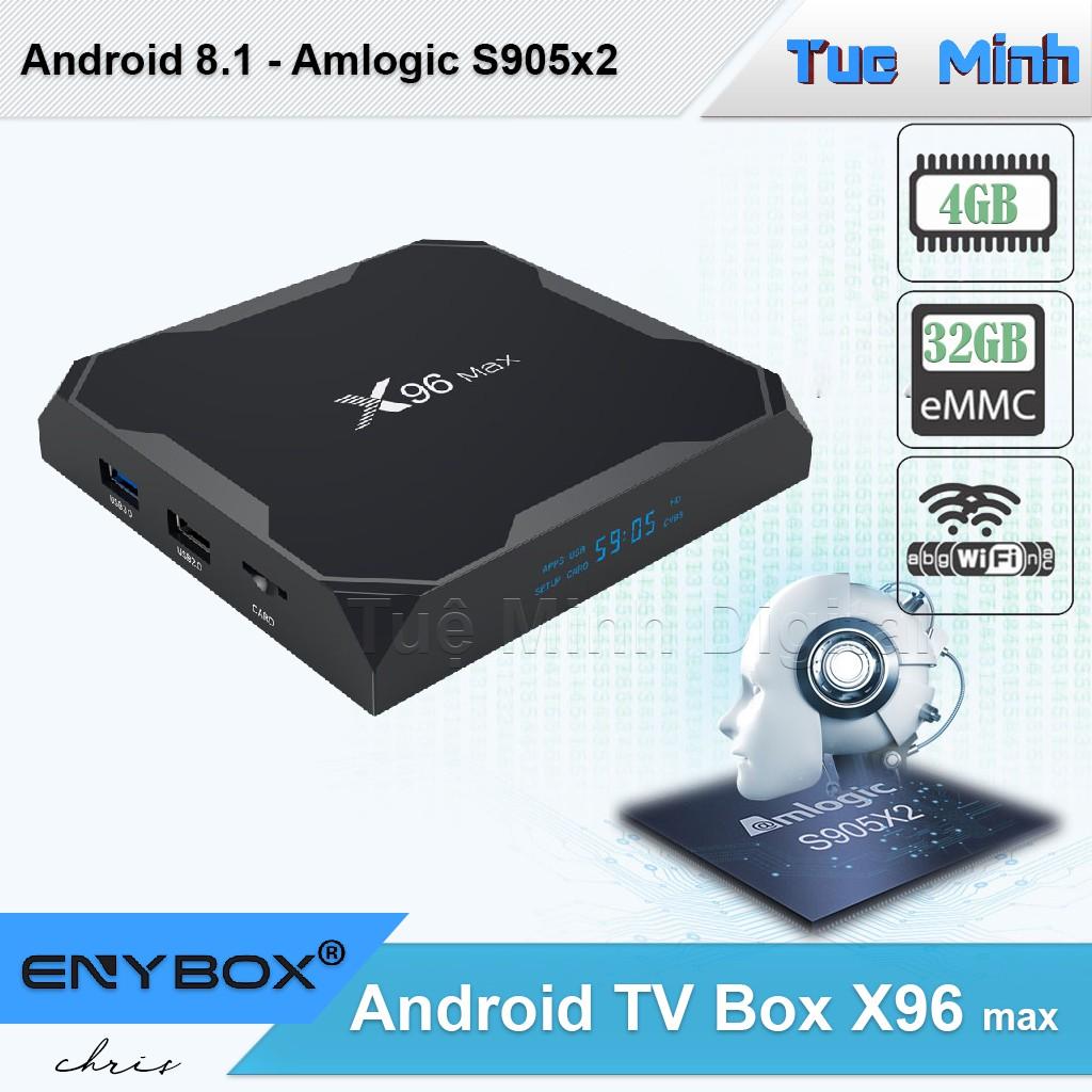 Android TV Box X96 max - BH 2 năm - Amlogic S905x2, Ram 4GB, bộ nhớ trong  32GB