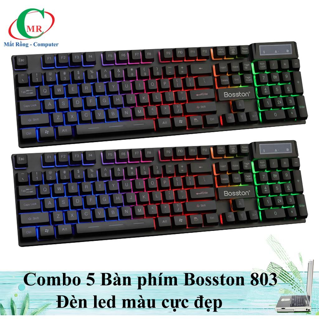 Combo 5 bàn phím Chuyên game Bosston 803 đèn led màu siêu đẹp.