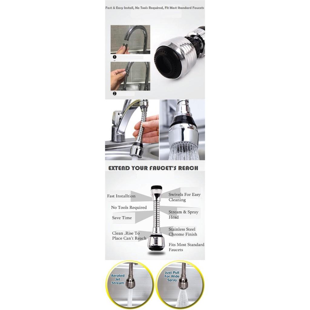 Vòi nước inox tiện dụng xoay 360 độ