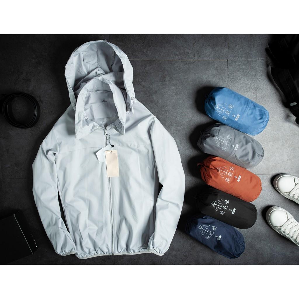 Áo khoác dù chống nước vải gân hạt gạo THE 1992 Khoác gió thể thao 7 màu kèm túi đựng G-03