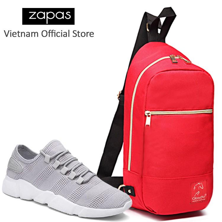 Combo Túi Messenger Thời Trang Glado DCG028 (Màu Đỏ) + Giày Sneaker GS081 (Xám)