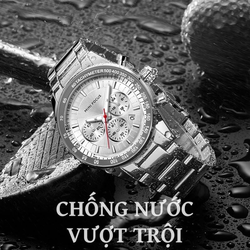Đồng Hồ Nam MINI FOCUS MF0187G.01 Dây Thép Bạc Mặt Đen Chống Nước 6 Kim Cao Cấp - TIGO
