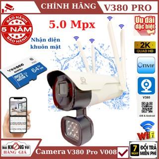 Camera wifi ngoài trời 4 râu 5.0Mpx V380 Pro – V008 , cảnh báo chống trộm, Nhận diện khuôn mặt, chống nước