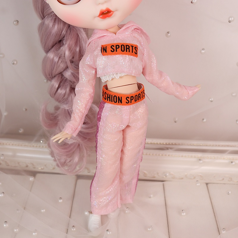 DBS ICYSmall Ragdoll Clothes Pink Leisure Sports Set Three-Piece SetazoneLijiaOB24 doll clothing