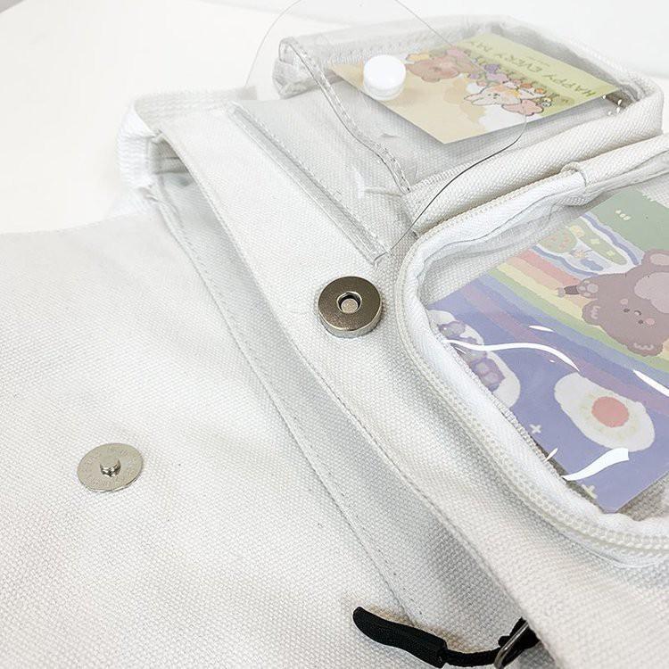 Túi tote canvas đeo chéo ngăn trong suốt đựng vừa khổ a4,sách vở Hakastore