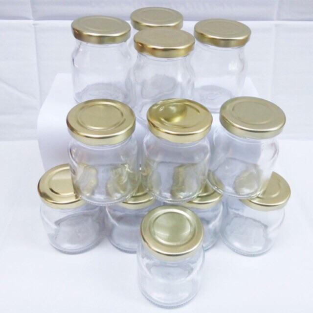 Hộp 12 hũ sữa chua thuỷ tinh trắng có nắp 100 ml