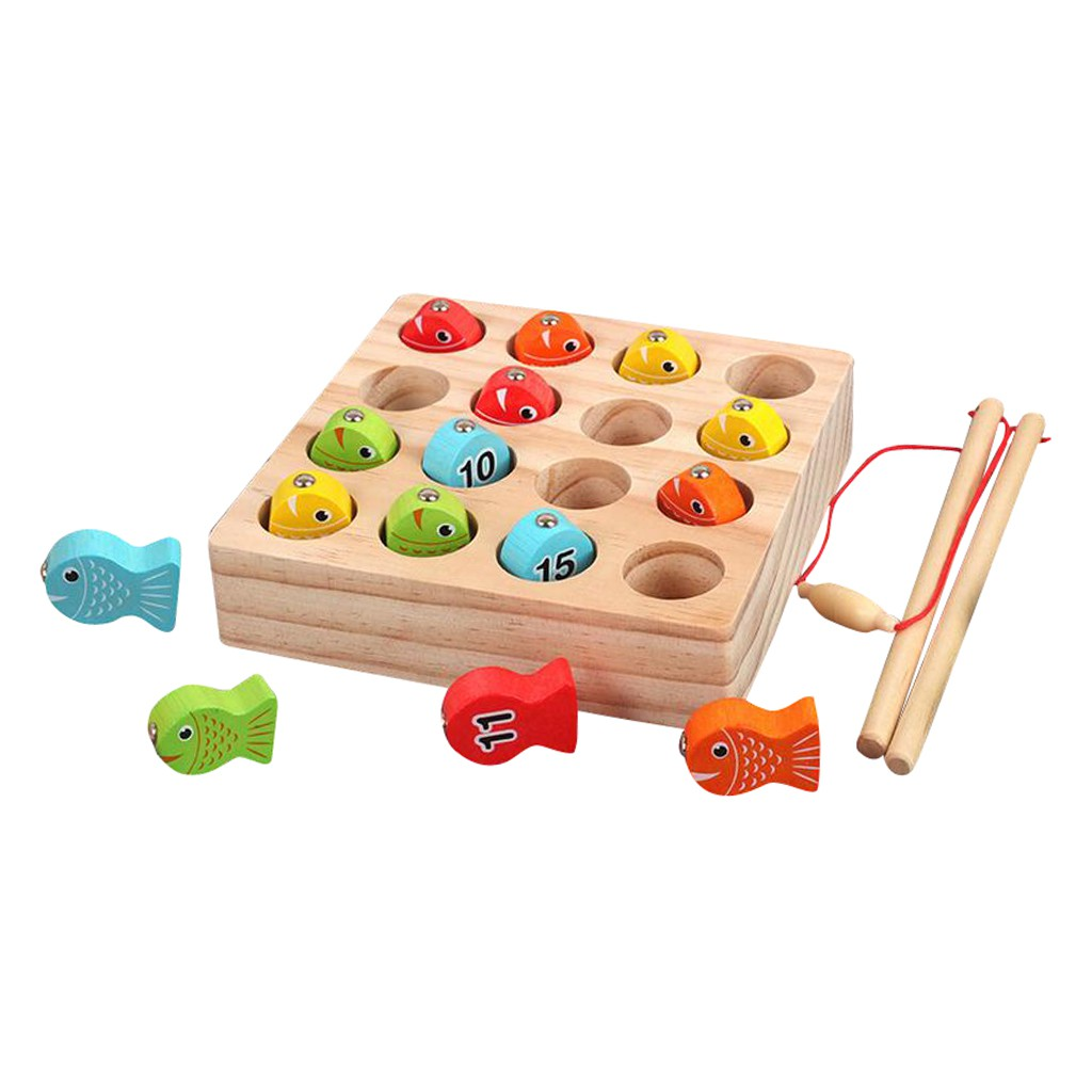 Wooden Magnetic Fishing Toy Kids Fishing Game Cognition Educational Toy