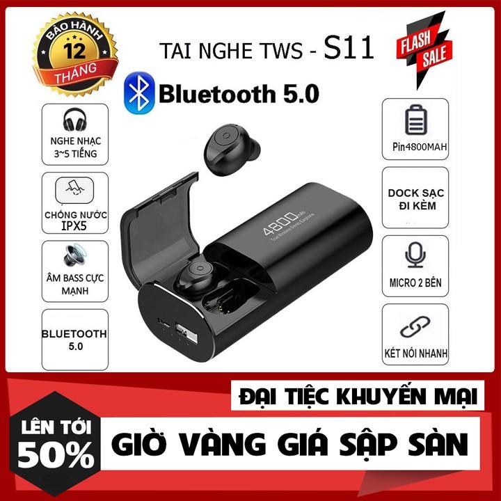 Bảo Hành 1 NămTai Nghe Bluetooth 5.0 TWS S11 - Cốc Sạc Kiêm Sạc Dự Phòng Cho Điện Thoại Chống Nước IPX5
