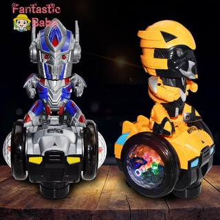 ♆♆Optimus Prime Bumblebee Electric Car Dancing Robot Music Flash Children Toy☜